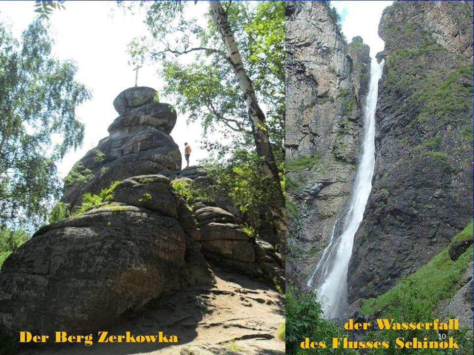 Der Berg Zerkowka der Wasserfall des Flusses Schinok 10