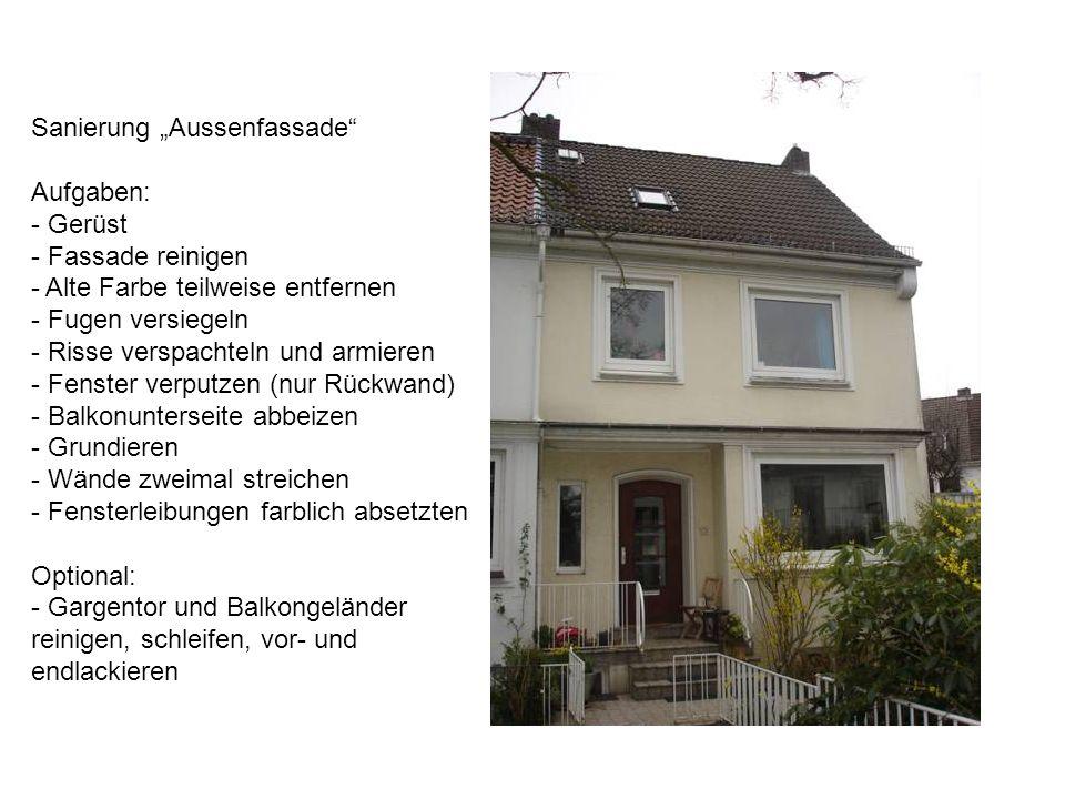 Sanierung Aussenfassade Aufgaben: - Gerüst - Fassade reinigen - Alte Farbe teilweise entfernen - Fugen versiegeln - Risse verspachteln und armieren -