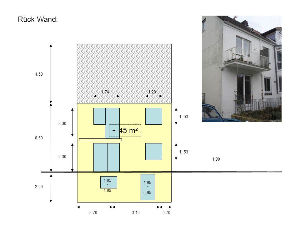 6.50 2.00 4.50 3.10 0.702.70 1.20 1. 53 1.90 1,95 * 0.95 ~ 45 m² 1.74 2,30 1,05 * 1.09 Rück Wand: