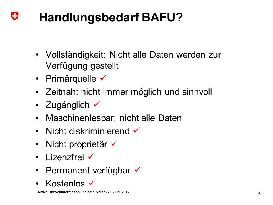 4 Aktive Umweltinformation / Salome Sidler / 28.Juni 2012 Handlungsbedarf BAFU.