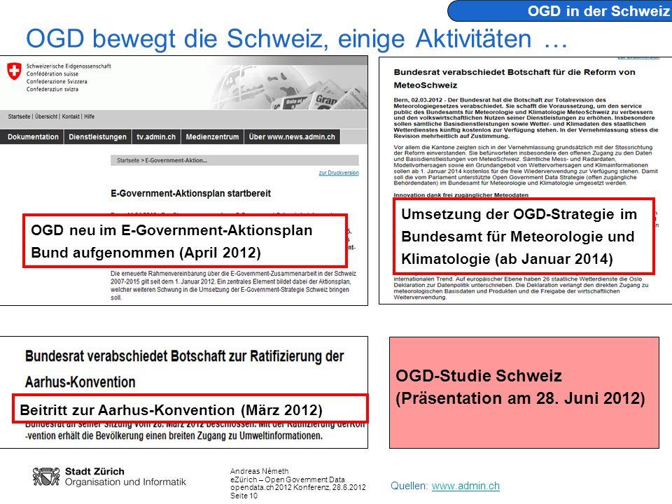 Andreas Németh eZürich – Open Government Data opendata.ch 2012 Konferenz, 28.6.2012 Seite 10 OGD bewegt die Schweiz, einige Aktivitäten … OGD in der S