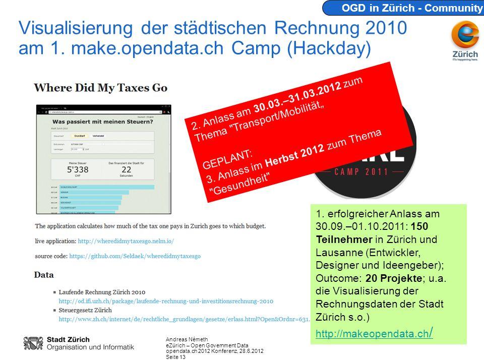 Andreas Németh eZürich – Open Government Data opendata.ch 2012 Konferenz, 28.6.2012 Seite 13 Visualisierung der städtischen Rechnung 2010 am 1. make.o