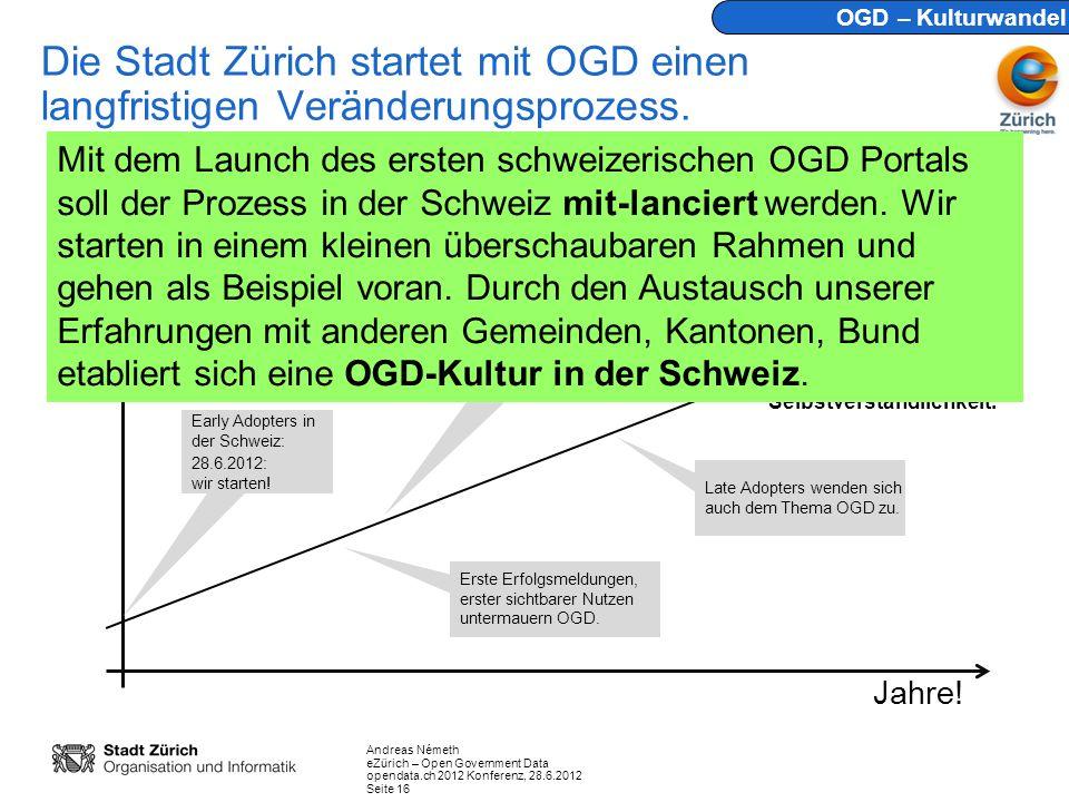 Andreas Németh eZürich – Open Government Data opendata.ch 2012 Konferenz, 28.6.2012 Seite 16 Die Stadt Zürich startet mit OGD einen langfristigen Veränderungsprozess.