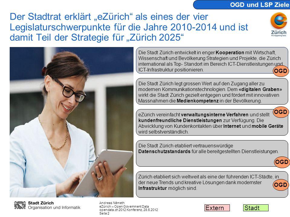 Andreas Németh eZürich – Open Government Data opendata.ch 2012 Konferenz, 28.6.2012 Seite 2 Der Stadtrat erklärt eZürich als eines der vier Legislatur