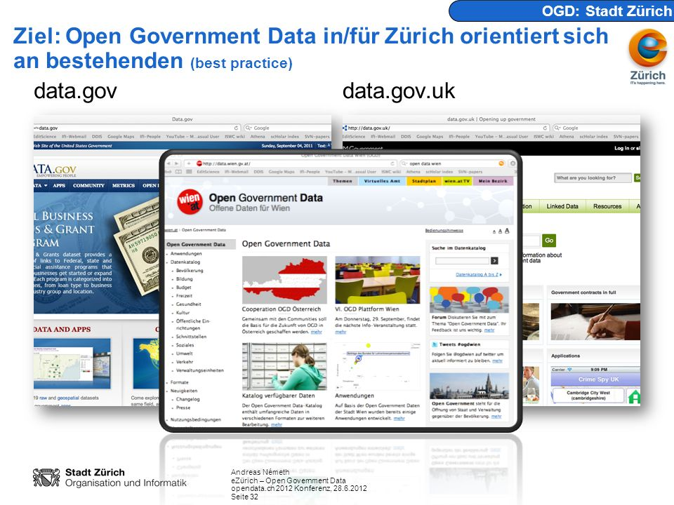 Andreas Németh eZürich – Open Government Data opendata.ch 2012 Konferenz, 28.6.2012 Seite 32 Ziel: Open Government Data in/für Zürich orientiert sich