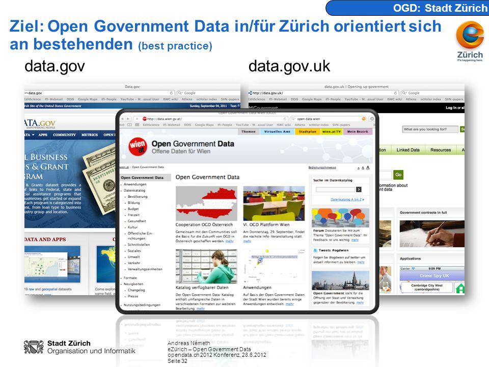 Andreas Németh eZürich – Open Government Data opendata.ch 2012 Konferenz, 28.6.2012 Seite 32 Ziel: Open Government Data in/für Zürich orientiert sich an bestehenden (best practice) data.govdata.gov.uk OGD: Stadt Zürich