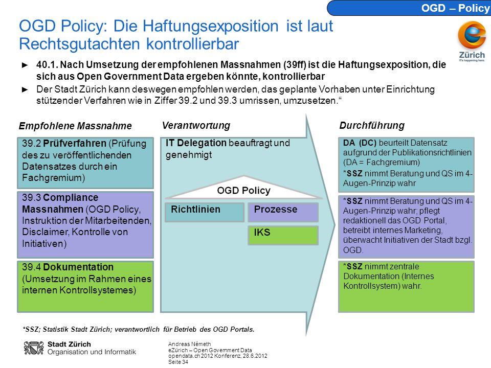 Andreas Németh eZürich – Open Government Data opendata.ch 2012 Konferenz, 28.6.2012 Seite 34 OGD Policy: Die Haftungsexposition ist laut Rechtsgutacht