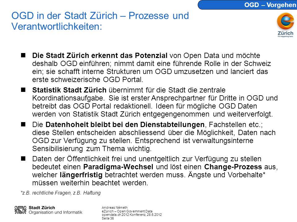 Andreas Németh eZürich – Open Government Data opendata.ch 2012 Konferenz, 28.6.2012 Seite 35 OGD in der Stadt Zürich – Prozesse und Verantwortlichkeiten: Die Stadt Zürich erkennt das Potenzial von Open Data und möchte deshalb OGD einführen; nimmt damit eine führende Rolle in der Schweiz ein; sie schafft interne Strukturen um OGD umzusetzen und lanciert das erste schweizerische OGD Portal.