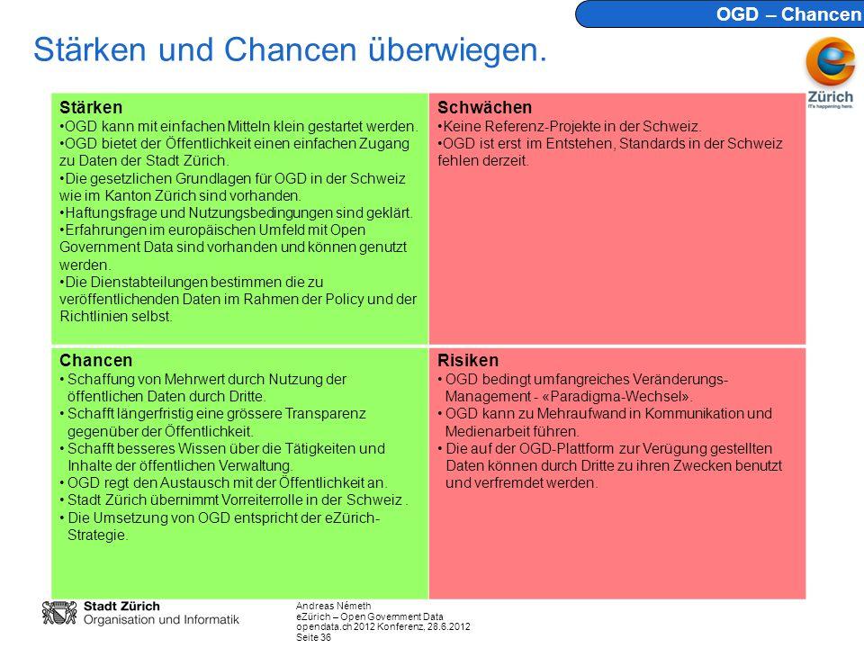 Andreas Németh eZürich – Open Government Data opendata.ch 2012 Konferenz, 28.6.2012 Seite 36 Stärken und Chancen überwiegen. Stärken OGD kann mit einf