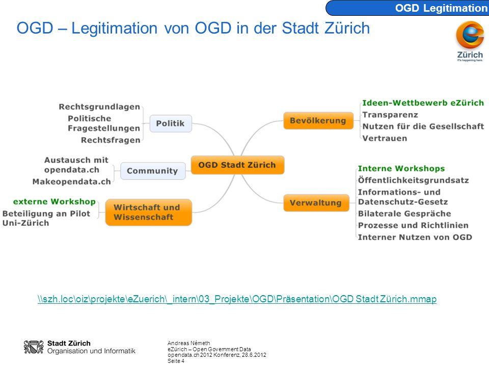 Andreas Németh eZürich – Open Government Data opendata.ch 2012 Konferenz, 28.6.2012 Seite 15 Auf das Portal werden nur Daten aufgeschaltet, welche das zuständige Departement bzw.
