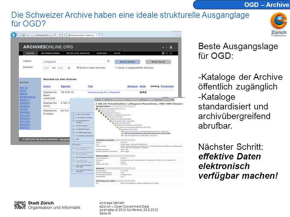Andreas Németh eZürich – Open Government Data opendata.ch 2012 Konferenz, 28.6.2012 Seite 40 Die Schweizer Archive haben eine ideale strukturelle Ausganglage für OGD.