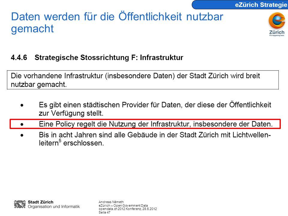 Andreas Németh eZürich – Open Government Data opendata.ch 2012 Konferenz, 28.6.2012 Seite 47 Daten werden für die Öffentlichkeit nutzbar gemacht eZüri