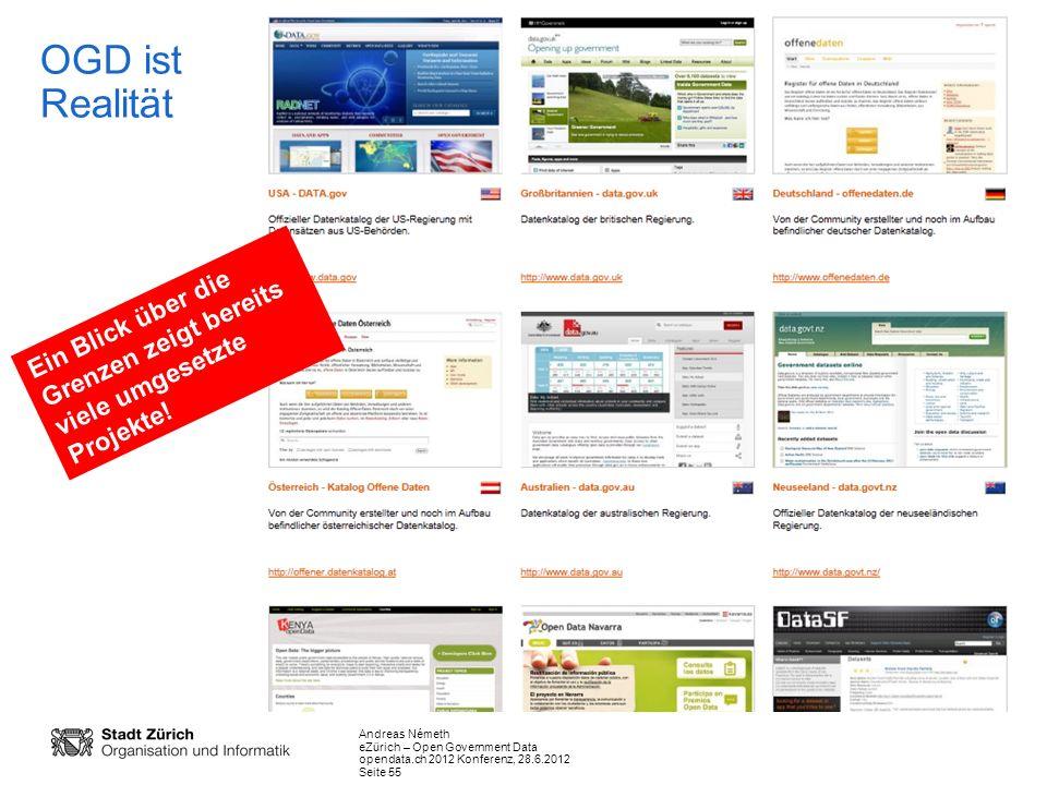 Andreas Németh eZürich – Open Government Data opendata.ch 2012 Konferenz, 28.6.2012 Seite 55 Ein Blick über die Grenzen zeigt bereits viele umgesetzte