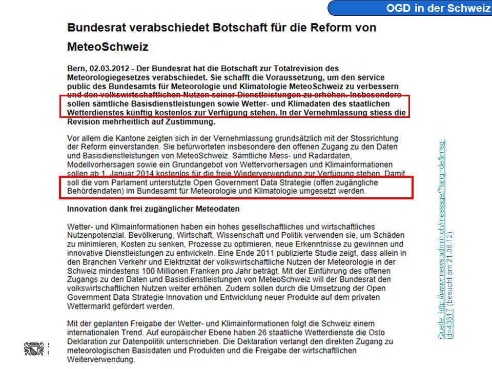 Andreas Németh eZürich – Open Government Data opendata.ch 2012 Konferenz, 28.6.2012 Seite 57 OGD in der Schweiz Quelle: http://www.news.admin.ch/message/?lang=de&msg- id=43617 Quelle: http://www.news.admin.ch/message/?lang=de&msg- id=43617 (besucht am 21.06.12)