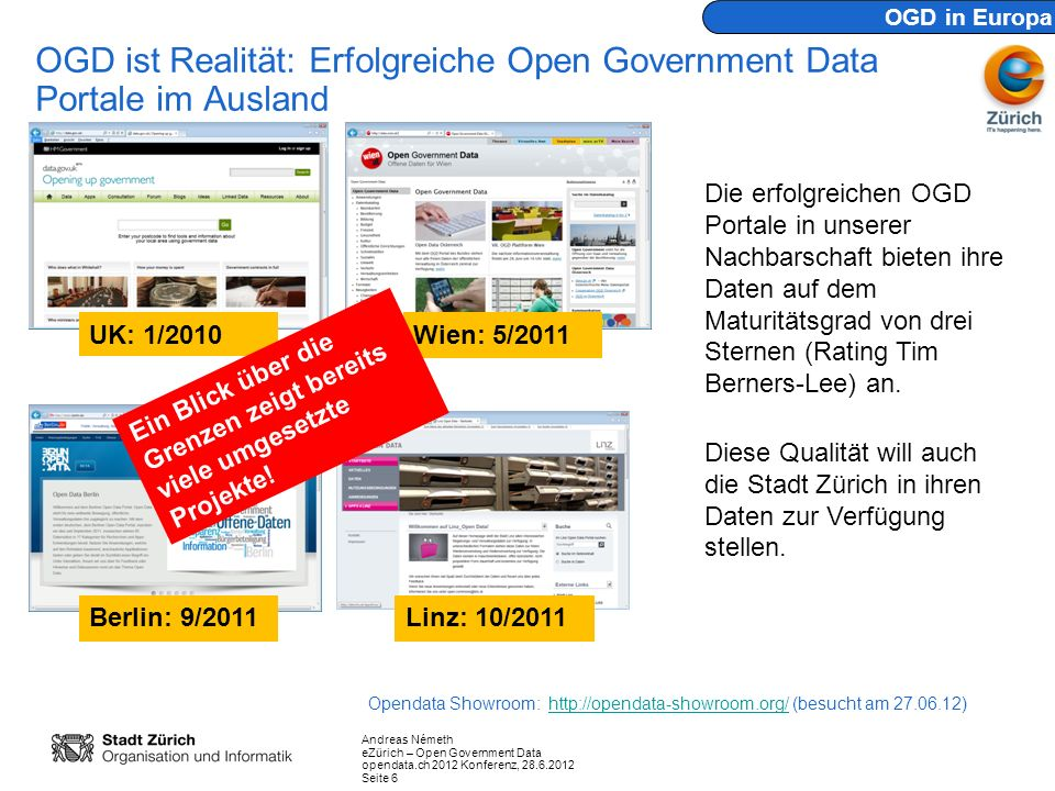 Andreas Németh eZürich – Open Government Data opendata.ch 2012 Konferenz, 28.6.2012 Seite 7 Technische Vision: Die 5 Sterne von Tim Berners Lee make your stuff available on the web (whatever format) make it available as structured data (e.g.