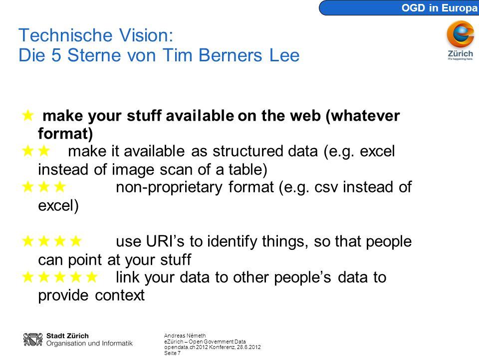 Andreas Németh eZürich – Open Government Data opendata.ch 2012 Konferenz, 28.6.2012 Seite 7 Technische Vision: Die 5 Sterne von Tim Berners Lee make y