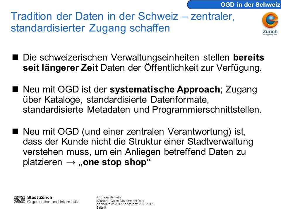 Andreas Németh eZürich – Open Government Data opendata.ch 2012 Konferenz, 28.6.2012 Seite 9 Tradition der Daten in der Schweiz – zentraler, standardis