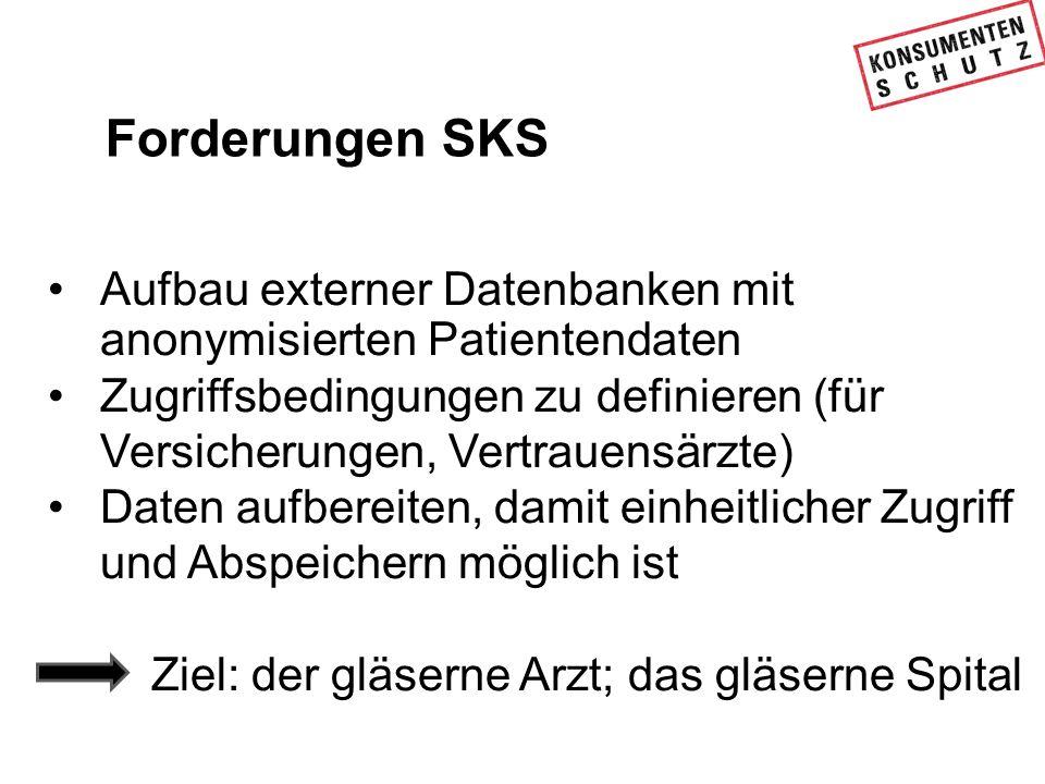Forderungen SKS Aufbau externer Datenbanken mit anonymisierten Patientendaten Zugriffsbedingungen zu definieren (für Versicherungen, Vertrauensärzte)