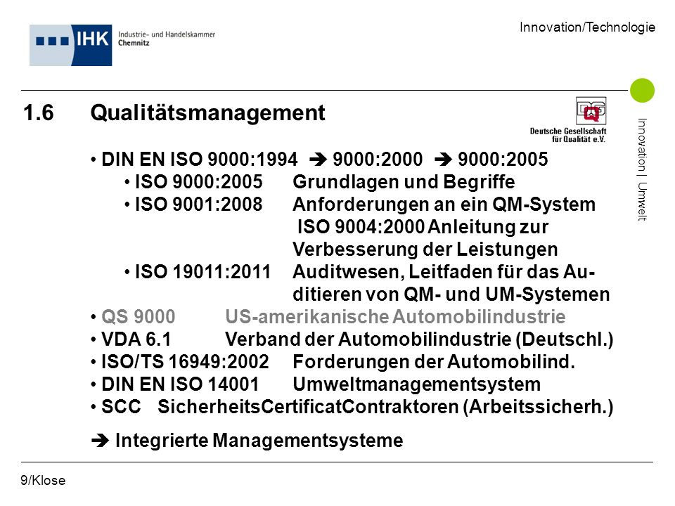 1.6 Qualitätsmanagement DIN EN ISO 9000:1994 9000:2000 9000:2005 ISO 9000:2005Grundlagen und Begriffe ISO 9001:2008Anforderungen an ein QM-System ISO