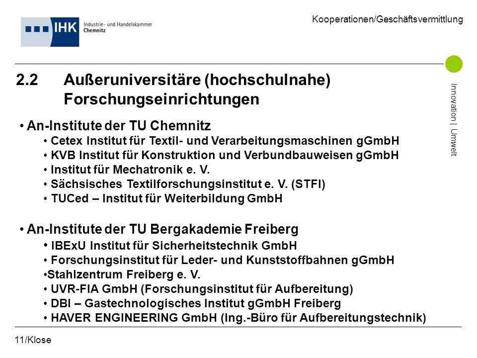 2.2 Außeruniversitäre (hochschulnahe) Forschungseinrichtungen 11/Klose Kooperationen/Geschäftsvermittlung Innovation | Umwelt An-Institute der TU Chem