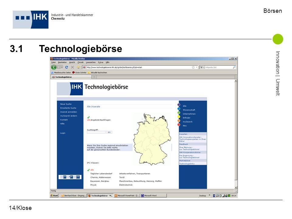 3.1 Technologiebörse 14/Klose Börsen Innovation | Umwelt