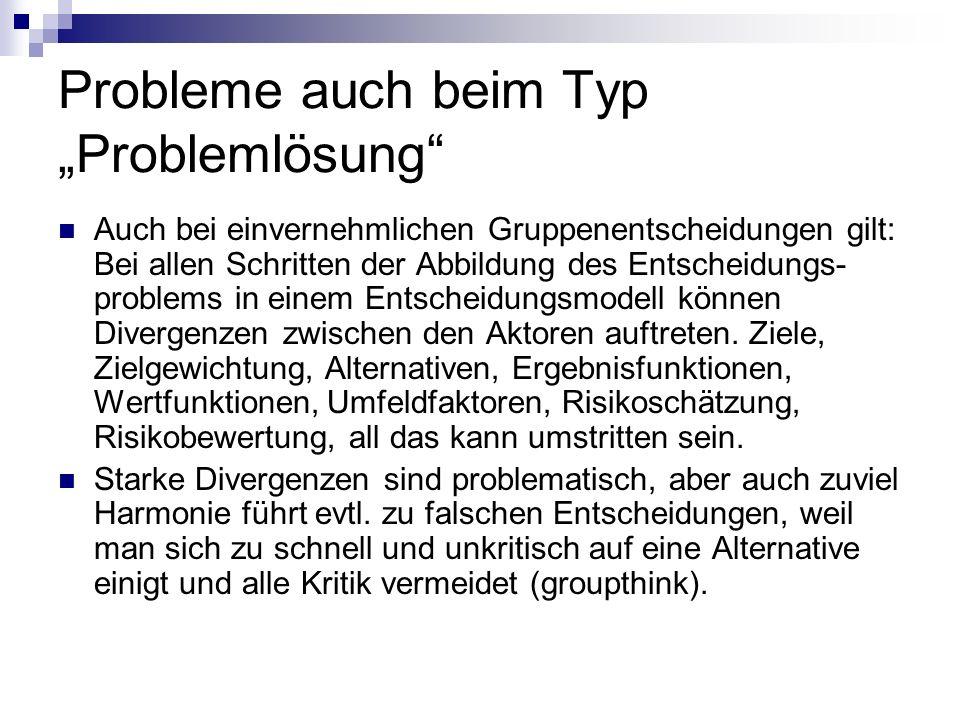 Probleme auch beim Typ Problemlösung Auch bei einvernehmlichen Gruppenentscheidungen gilt: Bei allen Schritten der Abbildung des Entscheidungs- proble