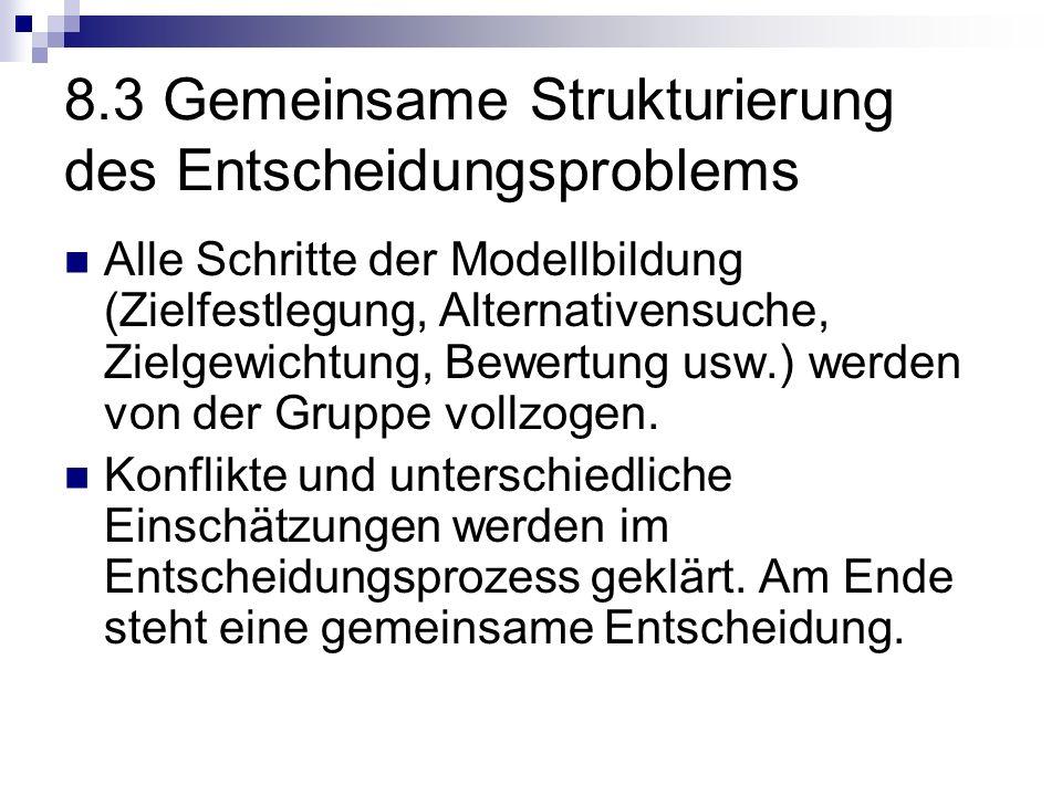 8.3 Gemeinsame Strukturierung des Entscheidungsproblems Alle Schritte der Modellbildung (Zielfestlegung, Alternativensuche, Zielgewichtung, Bewertung usw.) werden von der Gruppe vollzogen.