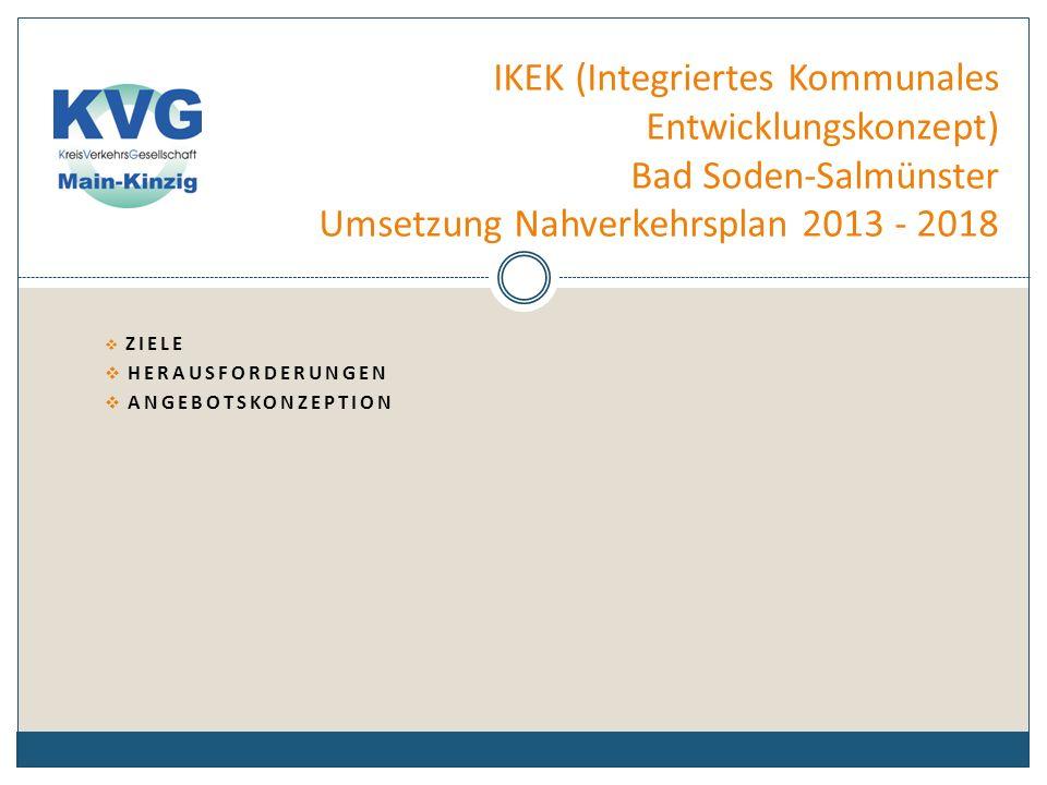 IKEK (Integriertes Kommunales Entwicklungskonzept) Bad Soden-Salmünster Umsetzung Nahverkehrsplan 2013 - 2018 Ziele
