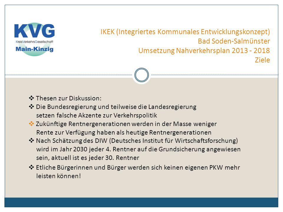 IKEK (Integriertes Kommunales Entwicklungskonzept) Bad Soden-Salmünster Umsetzung Nahverkehrsplan 2013 - 2018 Ziele Das bedeutet: Der Ausbau des öffentlichen Personennahverkehrs (ÖPNV) auf der Schiene und der Straße muß daher in den nächsten 10 Jahren absoluten Vorrang genießen.