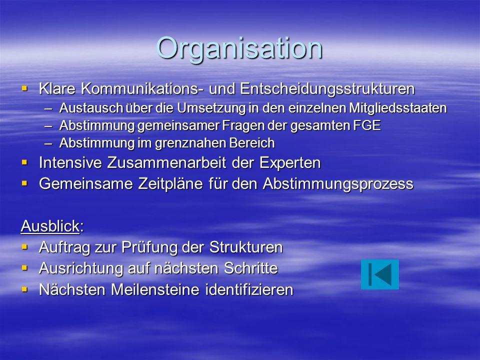 Organisation Klare Kommunikations- und Entscheidungsstrukturen Klare Kommunikations- und Entscheidungsstrukturen –Austausch über die Umsetzung in den einzelnen Mitgliedsstaaten –Abstimmung gemeinsamer Fragen der gesamten FGE –Abstimmung im grenznahen Bereich Intensive Zusammenarbeit der Experten Intensive Zusammenarbeit der Experten Gemeinsame Zeitpläne für den Abstimmungsprozess Gemeinsame Zeitpläne für den Abstimmungsprozess Ausblick: Auftrag zur Prüfung der Strukturen Auftrag zur Prüfung der Strukturen Ausrichtung auf nächsten Schritte Ausrichtung auf nächsten Schritte Nächsten Meilensteine identifizieren Nächsten Meilensteine identifizieren