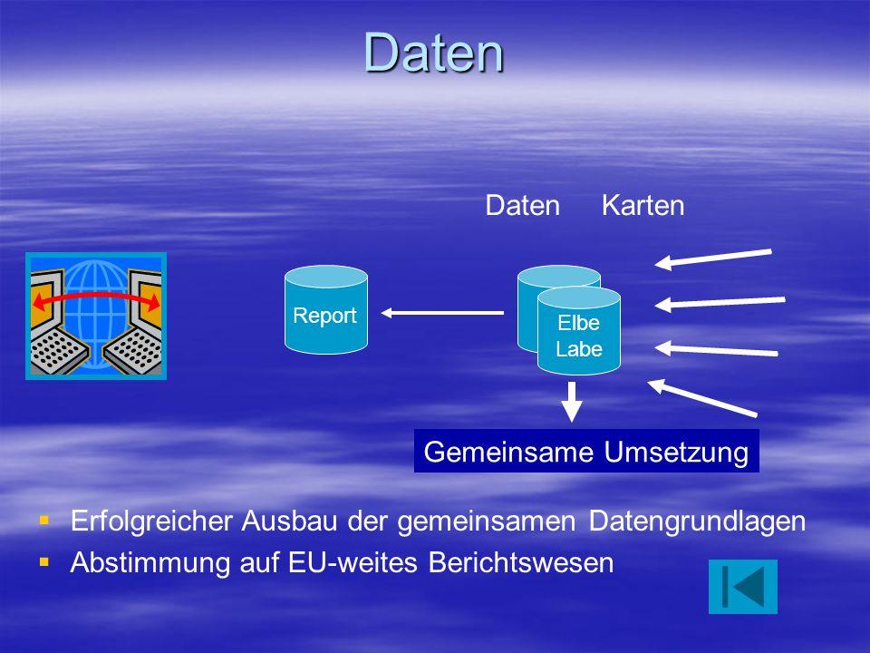 Daten Elbe Labe DatenKarten Gemeinsame Umsetzung Report Erfolgreicher Ausbau der gemeinsamen Datengrundlagen Abstimmung auf EU-weites Berichtswesen