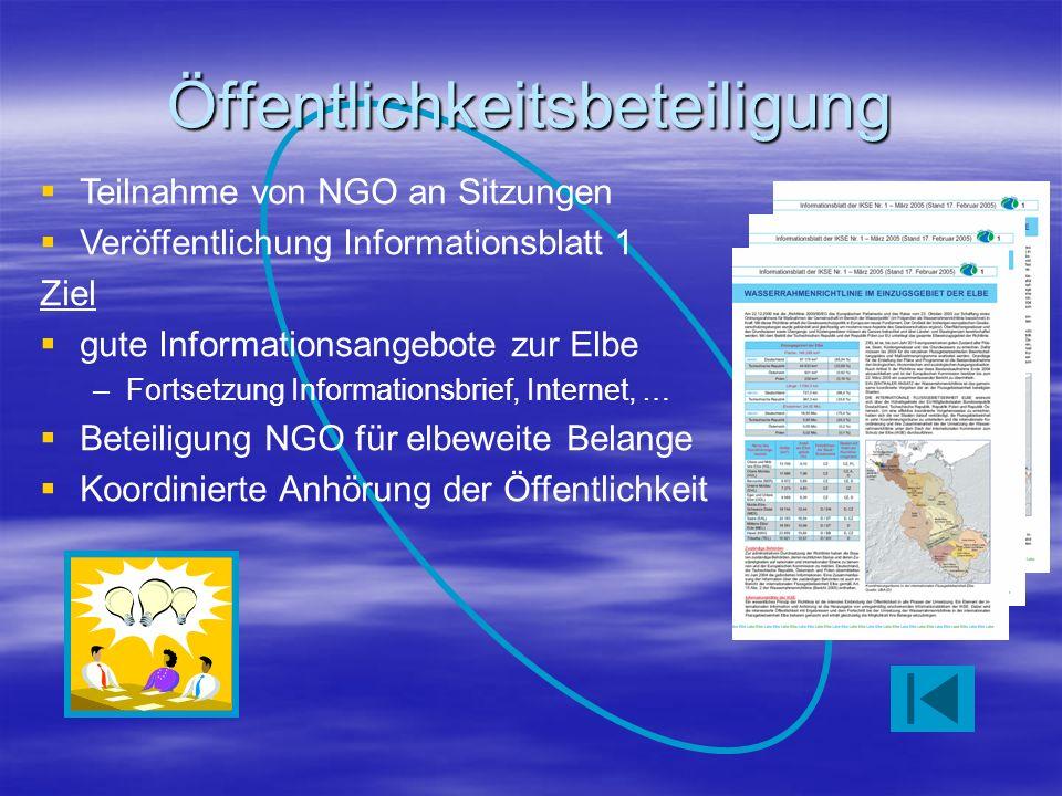 Öffentlichkeitsbeteiligung Teilnahme von NGO an Sitzungen Veröffentlichung Informationsblatt 1 Ziel gute Informationsangebote zur Elbe –Fortsetzung Informationsbrief, Internet, … Beteiligung NGO für elbeweite Belange Koordinierte Anhörung der Öffentlichkeit