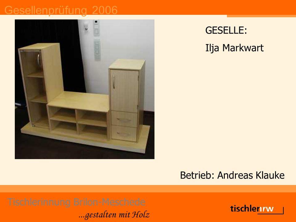 Gesellenprüfung 2006 Tischlerinnung Brilon-Meschede...gestalten mit Holz Betrieb: Andreas Klauke GESELLE: Ilja Markwart