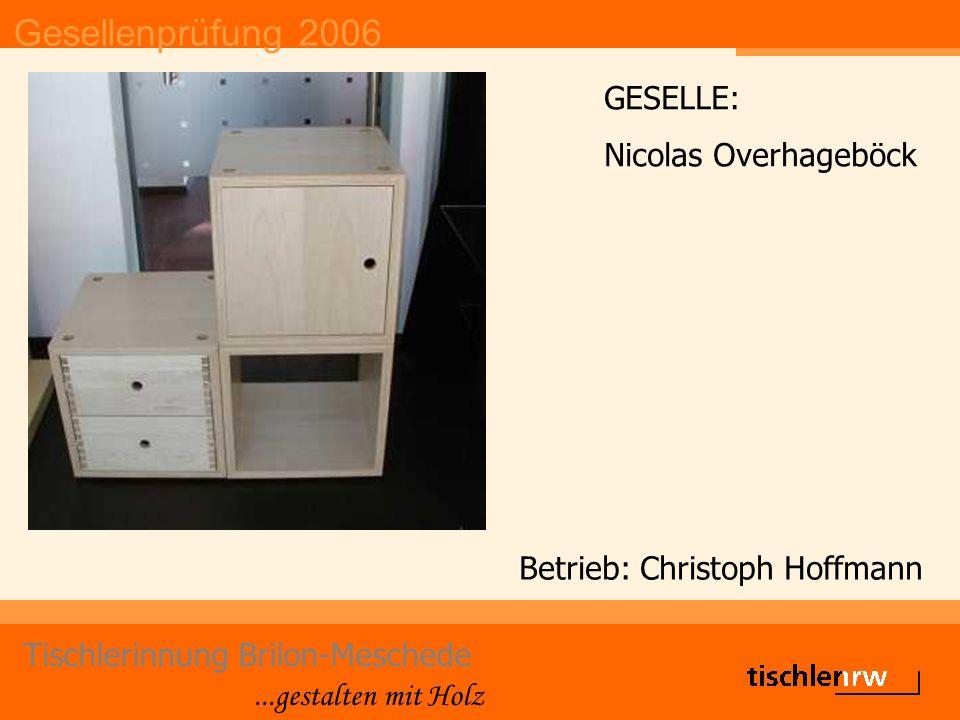 Gesellenprüfung 2006 Tischlerinnung Brilon-Meschede...gestalten mit Holz Betrieb: Christoph Hoffmann GESELLE: Nicolas Overhageböck