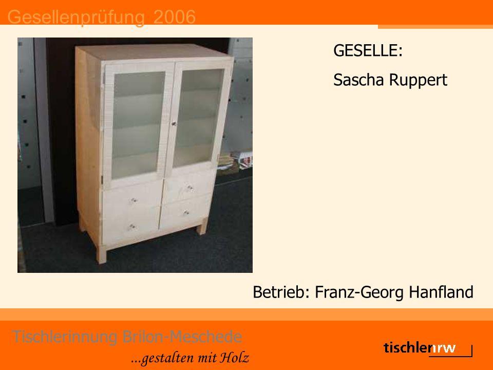 Gesellenprüfung 2006 Tischlerinnung Brilon-Meschede...gestalten mit Holz Betrieb: Franz-Georg Hanfland GESELLE: Sascha Ruppert