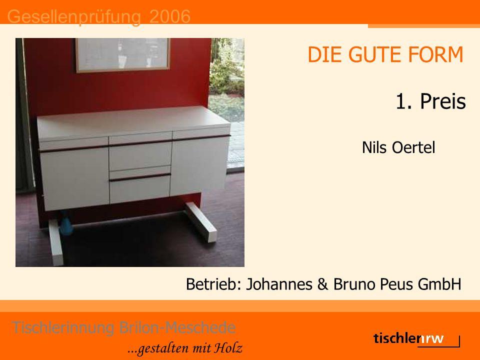 Gesellenprüfung 2006 Tischlerinnung Brilon-Meschede...gestalten mit Holz Betrieb: Johannes & Bruno Peus GmbH Nils Oertel DIE GUTE FORM 1.