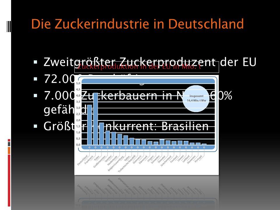 Die Zuckerindustrie in Deutschland Zweitgrößter Zuckerproduzent der EU 72.000 Beschäftigte 7.000 Zuckerbauern in NRW, 60% gefährdet Größter Konkurrent