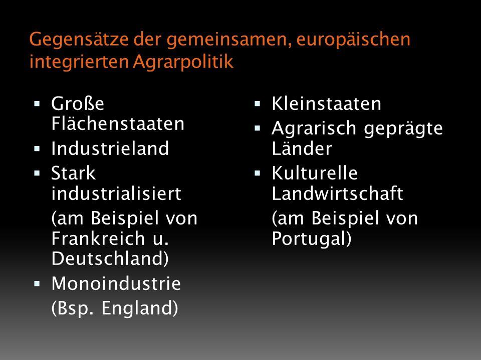 Gegensätze der gemeinsamen, europäischen integrierten Agrarpolitik Große Flächenstaaten Industrieland Stark industrialisiert (am Beispiel von Frankrei
