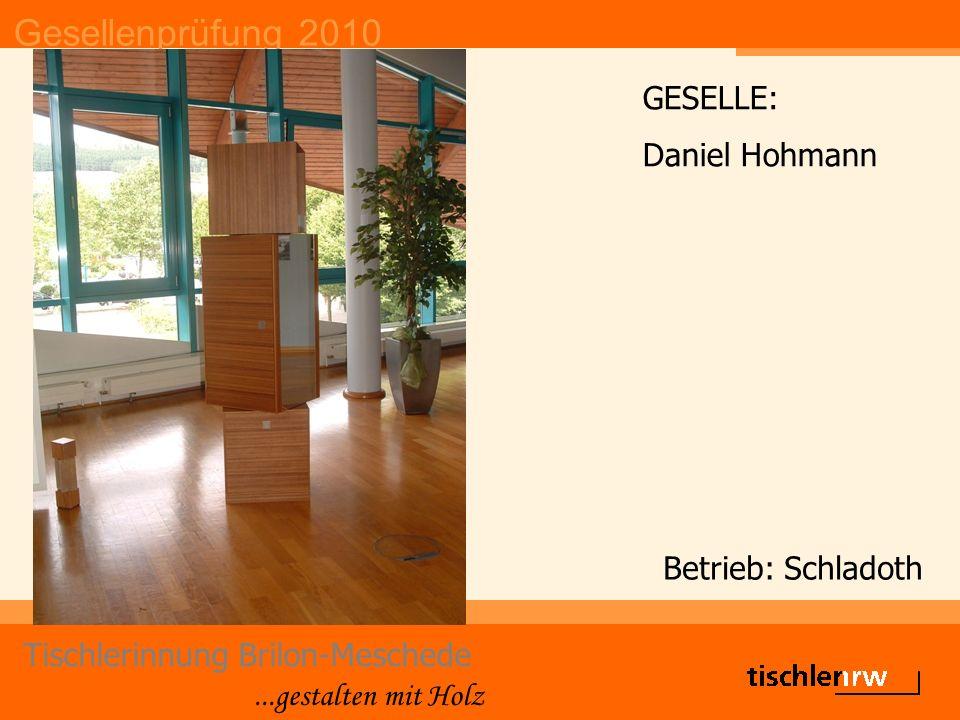 Gesellenprüfung 2010 Tischlerinnung Brilon-Meschede...gestalten mit Holz Betrieb: Schladoth GESELLE: Daniel Hohmann