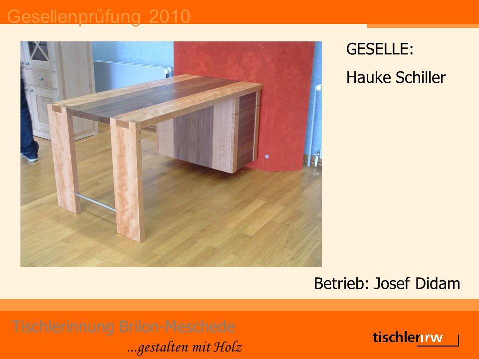 Gesellenprüfung 2010 Tischlerinnung Brilon-Meschede...gestalten mit Holz Betrieb: Josef Didam GESELLE: Hauke Schiller
