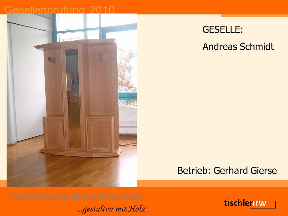 Gesellenprüfung 2010 Tischlerinnung Brilon-Meschede...gestalten mit Holz Betrieb: Gerhard Gierse GESELLE: Andreas Schmidt
