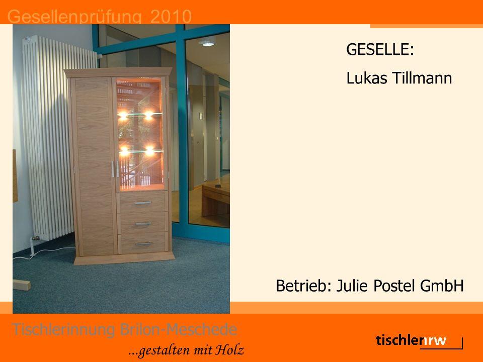 Gesellenprüfung 2010 Tischlerinnung Brilon-Meschede...gestalten mit Holz Betrieb: Julie Postel GmbH GESELLE: Lukas Tillmann