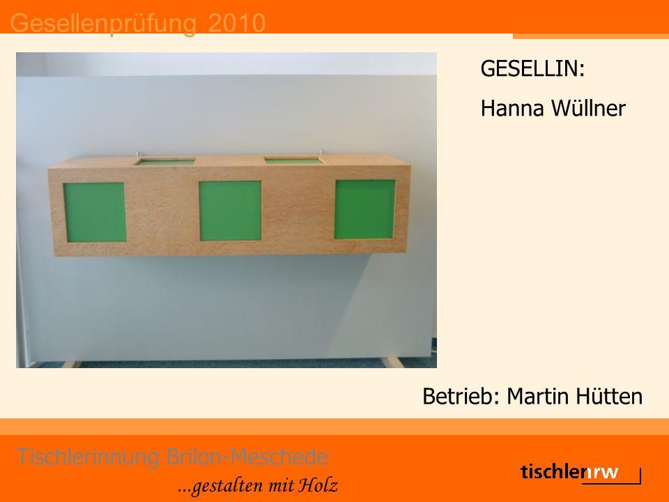 Gesellenprüfung 2010 Tischlerinnung Brilon-Meschede...gestalten mit Holz Betrieb: Martin Hütten GESELLIN: Hanna Wüllner