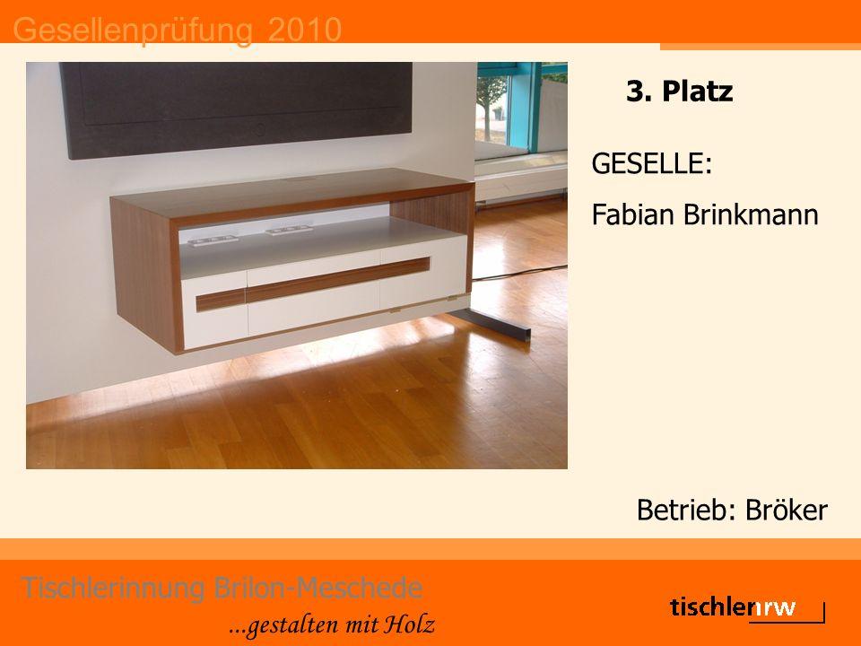 Gesellenprüfung 2010 Tischlerinnung Brilon-Meschede...gestalten mit Holz Betrieb: Bröker GESELLE: Fabian Brinkmann 3. Platz
