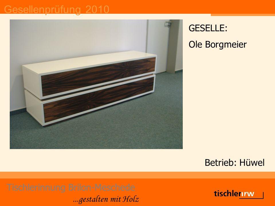 Gesellenprüfung 2010 Tischlerinnung Brilon-Meschede...gestalten mit Holz Betrieb: Hüwel GESELLE: Ole Borgmeier