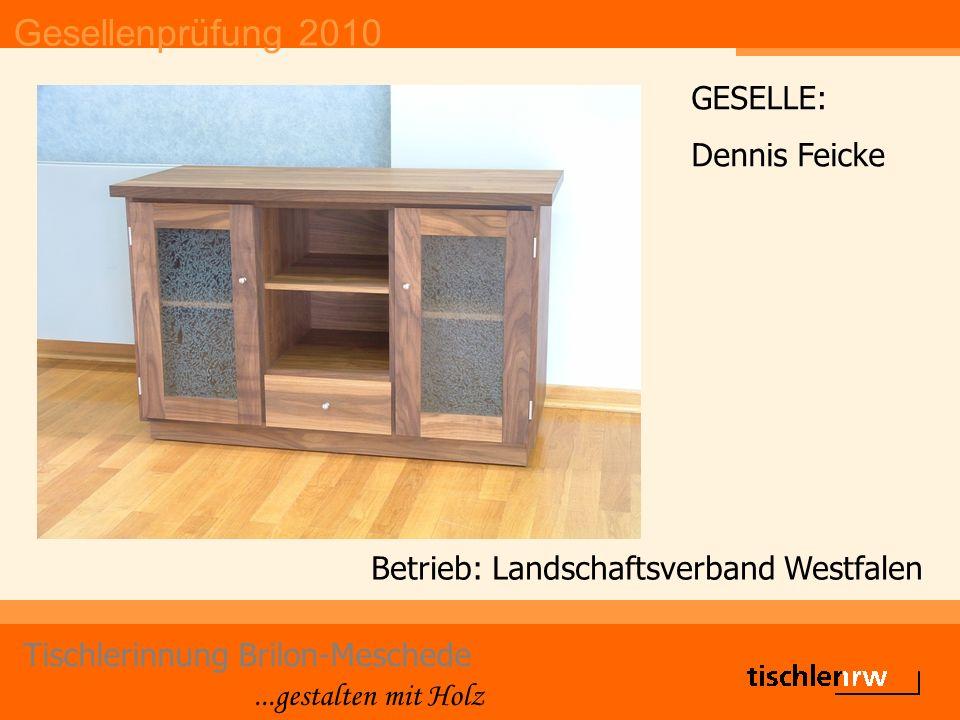 Gesellenprüfung 2010 Tischlerinnung Brilon-Meschede...gestalten mit Holz Betrieb: Landschaftsverband Westfalen GESELLE: Dennis Feicke