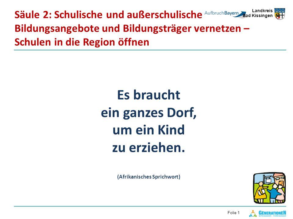 Landkreis Bad Kissingen Folie 1 Es braucht ein ganzes Dorf, um ein Kind zu erziehen. (Afrikanisches Sprichwort) Säule 2: Schulische und außerschulisch