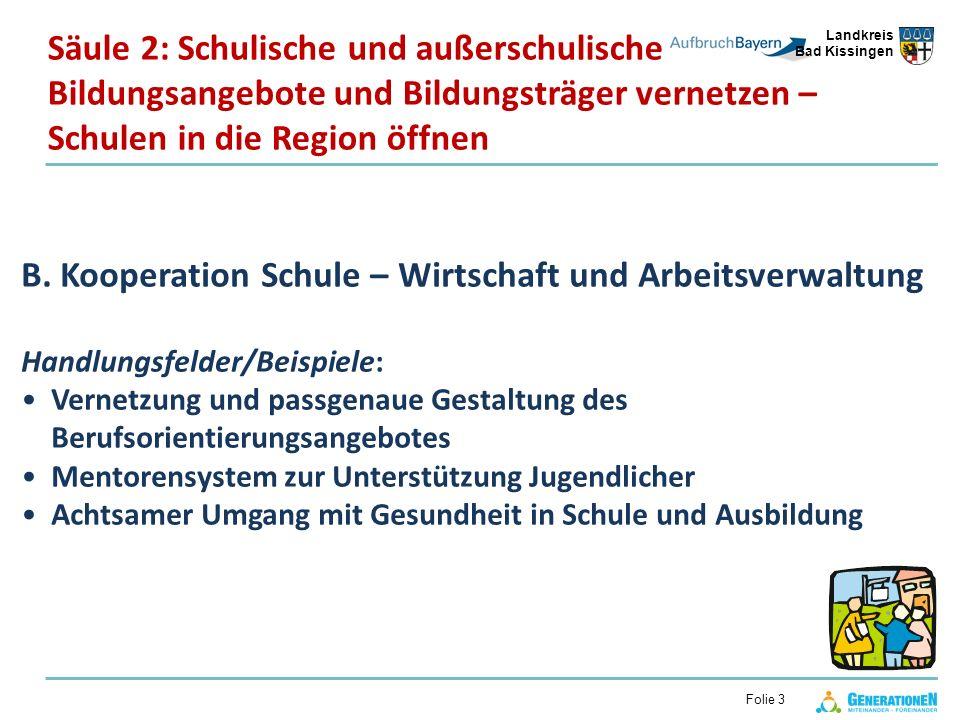 Landkreis Bad Kissingen Folie 3 B. Kooperation Schule – Wirtschaft und Arbeitsverwaltung Handlungsfelder/Beispiele: Vernetzung und passgenaue Gestaltu
