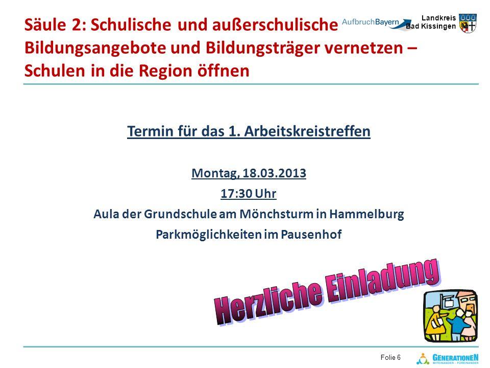 Landkreis Bad Kissingen Folie 6 Säule 2: Schulische und außerschulische Bildungsangebote und Bildungsträger vernetzen – Schulen in die Region öffnen T