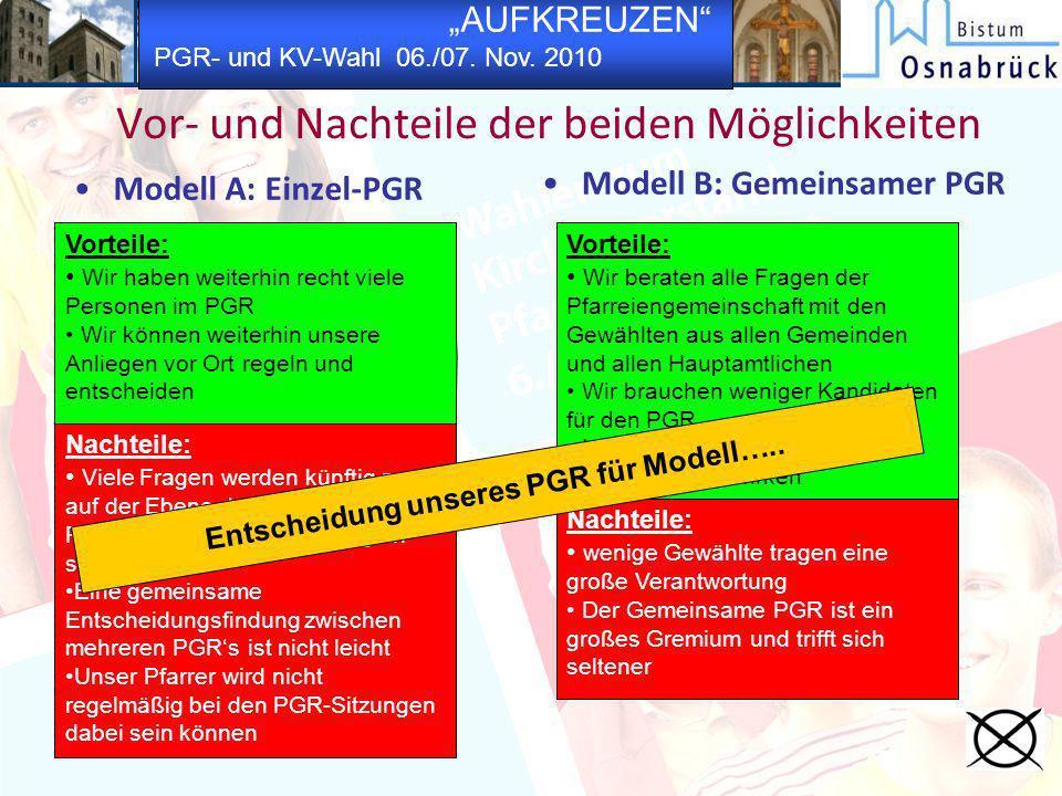 AUFKREUZEN PGR- und KV-Wahl 06./07. Nov. 2010 Vor- und Nachteile der beiden Möglichkeiten Modell A: Einzel-PGR Modell B: Gemeinsamer PGR Vorteile: Wir